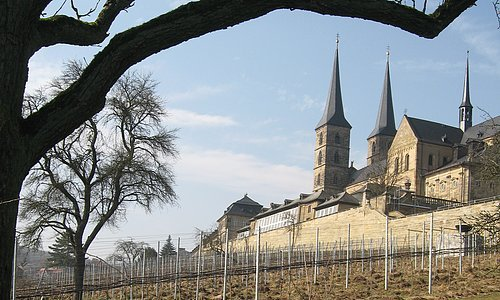 Monastery gardens of St. Michael's with the vineyard